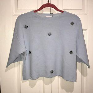 Light sweater crop tee blue